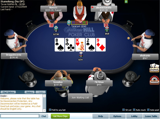 william hill poker game